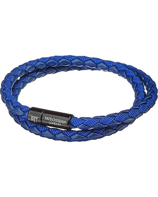Tateossian | Blue Chelsea Leather Double-wrap Bracelet | Lyst