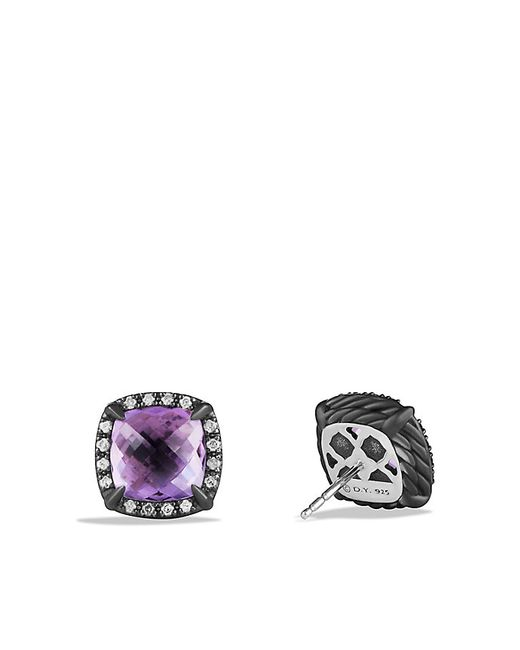 David Yurman | Blue Chatelaine Stud Earrings With Amethyst And Gray Diamonds | Lyst