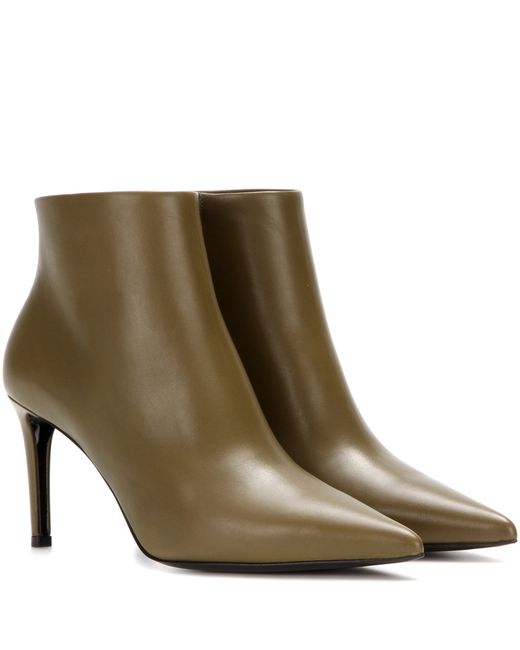 balenciaga leather ankle boots in green lyst