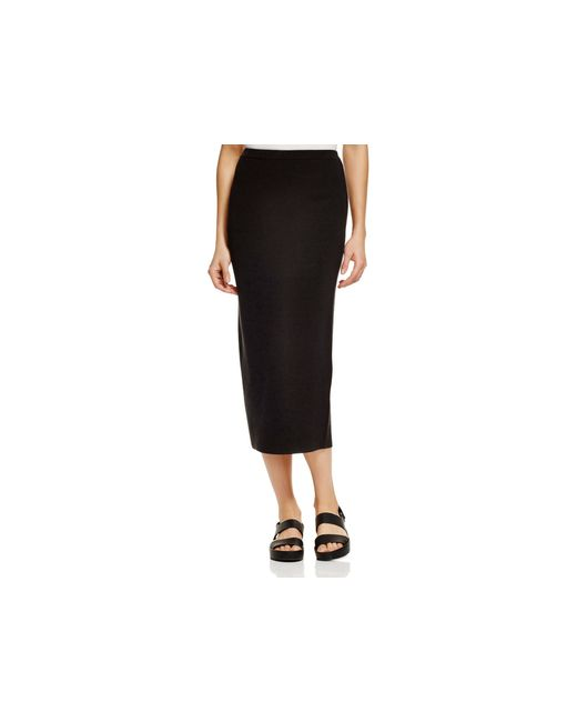 eileen fisher knitted pencil skirt in black lyst