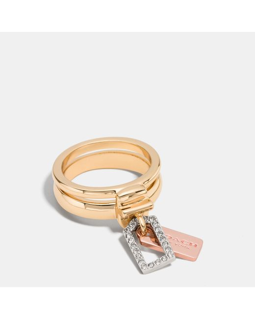 COACH | Metallic Pave Mixed Tags Stacked Ring | Lyst