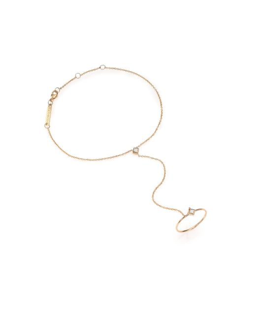 Zoe Chicco | Metallic Diamond & 14k Yellow Gold Princess Hand Chain Bracelet | Lyst