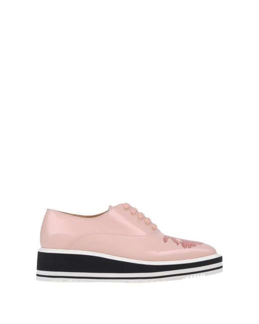 prada lace up shoes in pink lyst