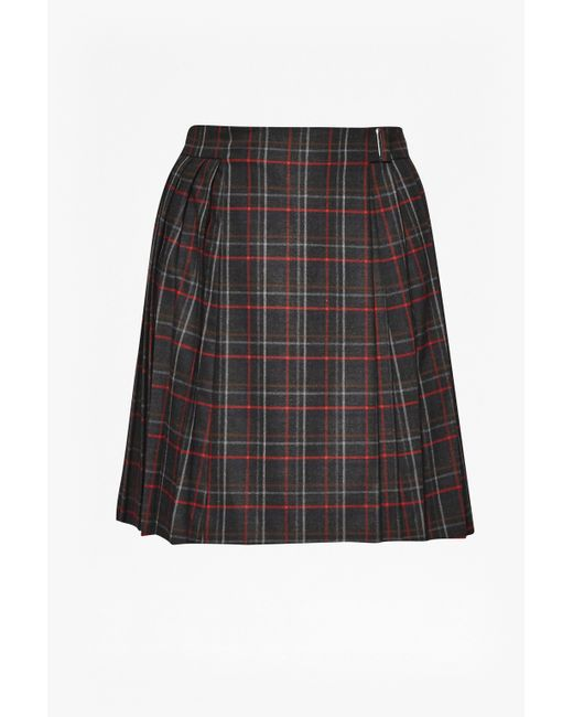 connection soho check pleated skirt in black multi