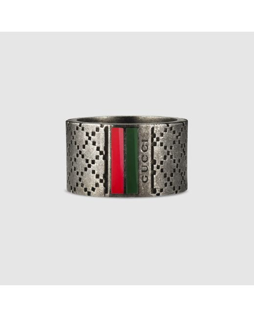 Gucci | Metallic Wide Ring With Diamante Motif for Men | Lyst