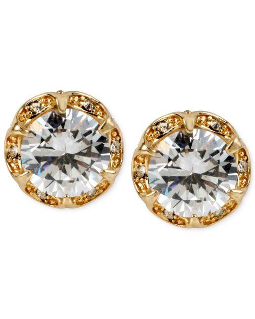 Betsey Johnson | Metallic Gold-tone Crystal Ruffled Stud Earrings | Lyst