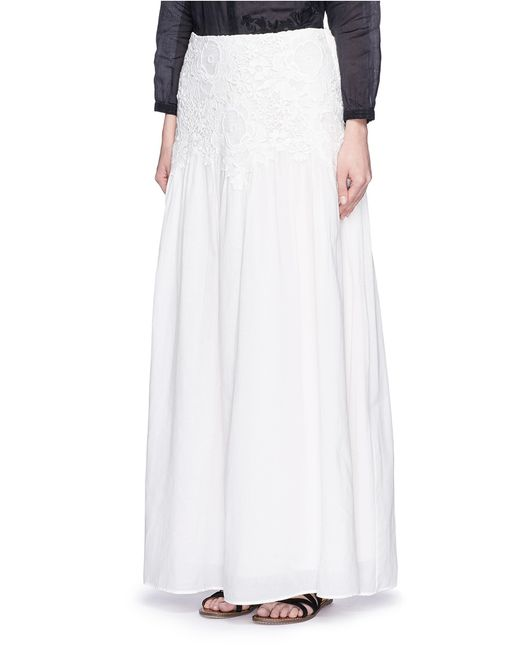 see by chlo 233 floral lace cotton voile maxi skirt in white