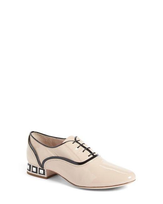 Miu Miu | White Jewel Heel Oxford | Lyst