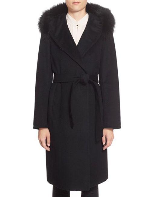 Ellen Tracy | Black Genuine Fox Fur Trim Long Hooded Wool Blend Coat | Lyst