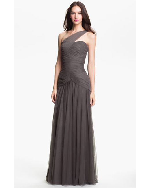 Monique Lhuillier Bridesmaids | Gray Pleated One-shoulder Tulle Trumpet Gown | Lyst