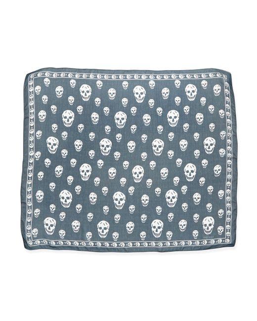 Alexander McQueen   Blue 'skull' Scarf   Lyst