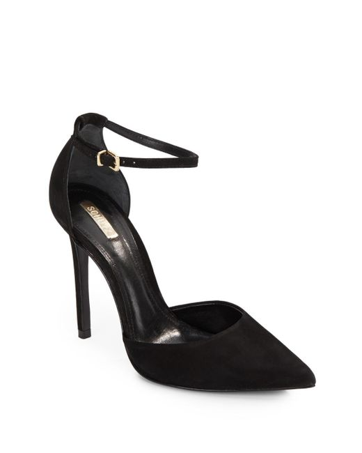 Schutz | Black Irma Suede Ankle Strap Point Toe Pumps | Lyst