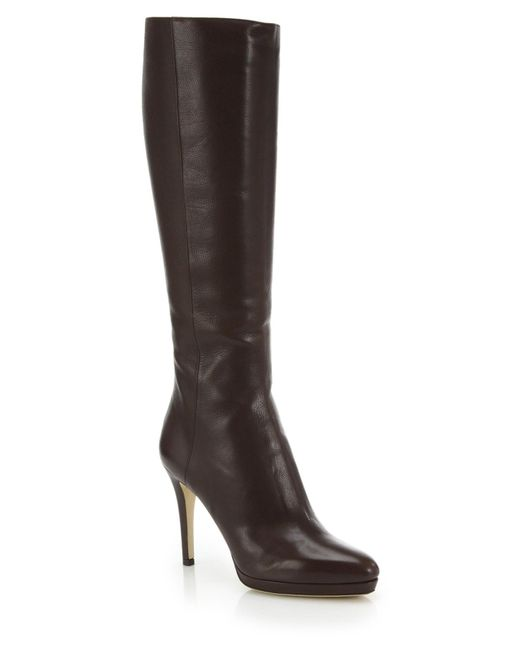 jimmy choo glynn leather knee high boots in brown mocha