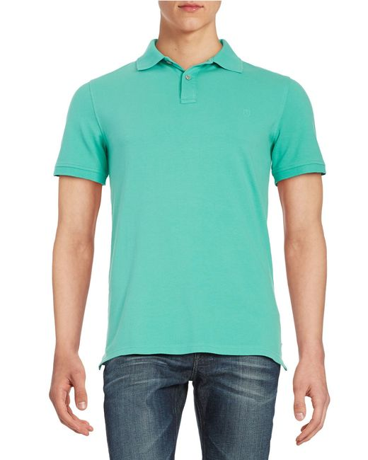 Black brown solid cotton polo shirt in green for men for Light brown polo shirt