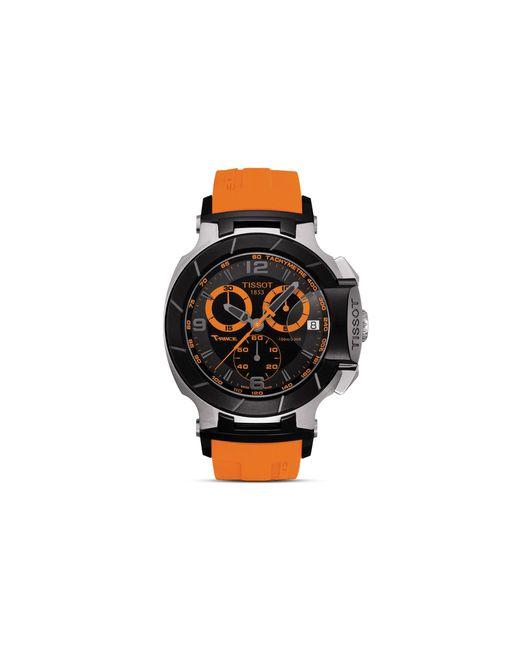 Mens Black Quartz Chronograph Orange Rubber Watch 50mm For Men