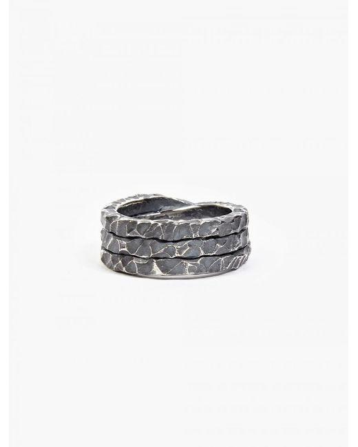 Denis Music   Metallic Oxidised Silver Moebius Triple-cross Ring for Men   Lyst