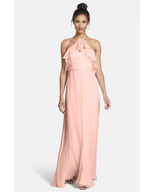 Amsale | Pink Ruffled Silk-Chiffon Gown | Lyst