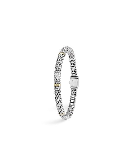 Lagos | Metallic 18k Yellow Gold And Sterling Silver Petite Oval Rope Bracelet | Lyst