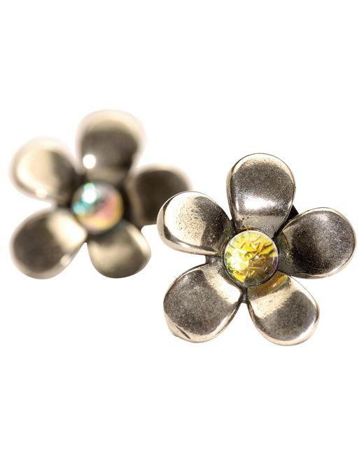 Trollbeads   Metallic Sterling Silver Flower Earrings   Lyst