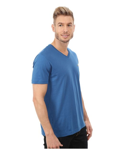 lacoste short sleeve v neck pima jersey tee shirt in blue. Black Bedroom Furniture Sets. Home Design Ideas