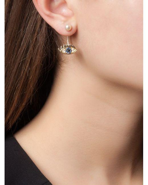 Delfina Delettrez | Metallic 'eyes On Me Piercing' Sapphire And Diamond Earring | Lyst