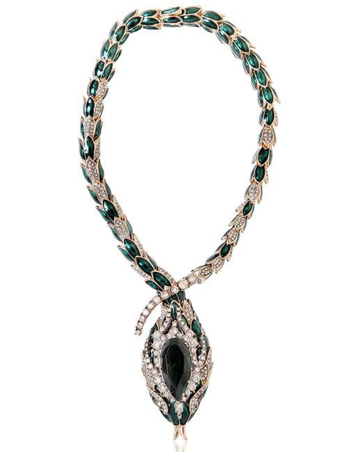 roberto cavalli snake swarovski necklace in green green