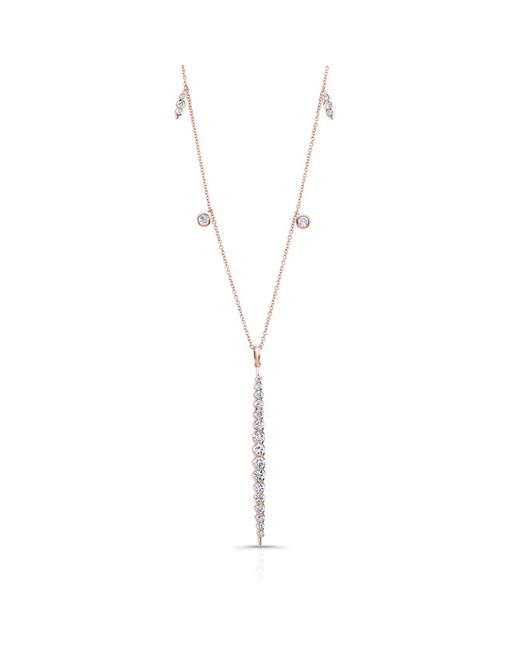 Anne Sisteron | Pink 14kt Rose Gold Diamond Luxe Beam Necklace | Lyst