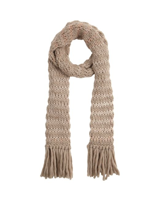 Knitting Warehouse Shipping : Anna kula stripe chunky knit scarf in beige nude lyst