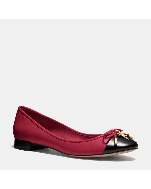 COACH | Red Noella Flat | Lyst