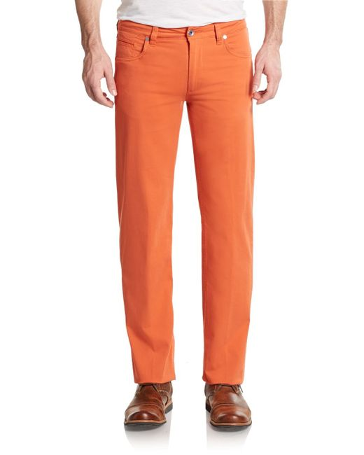 Saks Fifth Avenue | Orange Gabardine Five-pocket Trousers for Men | Lyst