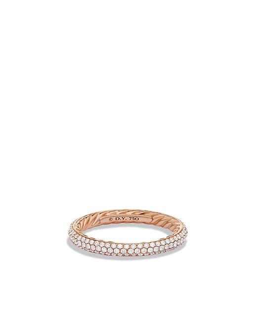 David Yurman | Pink Wedding Band With Three-rows Diamonds In 18k Rose Gold | Lyst
