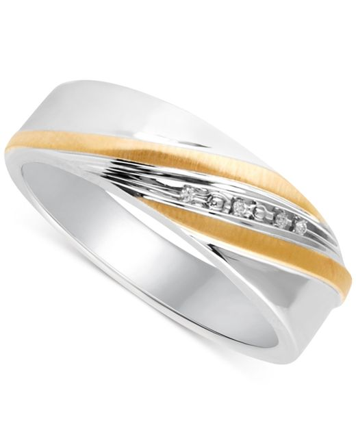 Beautiful Beginnings Mens Diamond Accent Wedding Band In 14k Gold And Sterling Silver In Gold