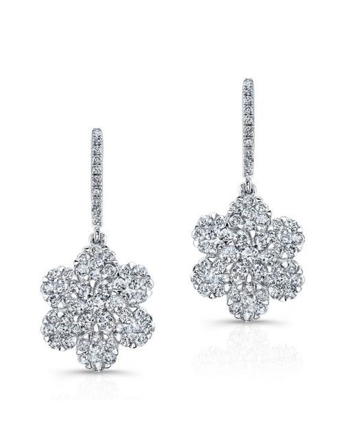 Anne Sisteron | Metallic 18kt White Gold Diamond Flora Flower Earrings | Lyst