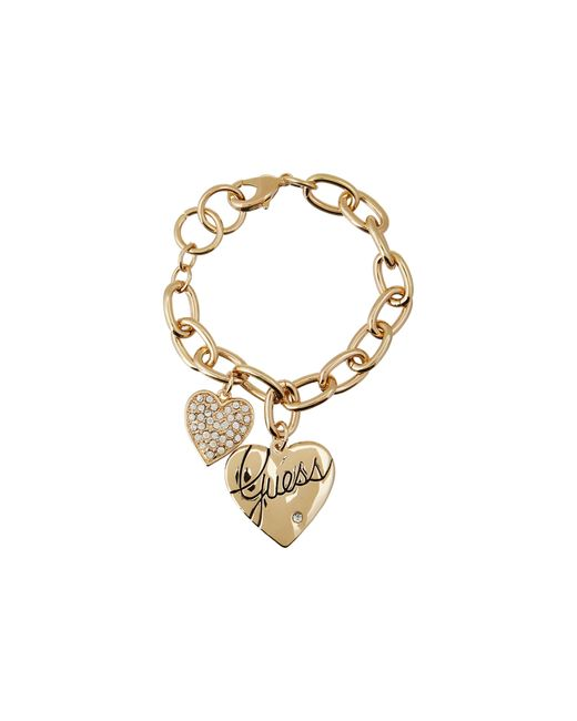 Guess | Metallic Two Heart Charm Bracelet | Lyst