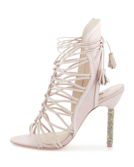 Sophia webster lacey crystal bridal sandal in pink lyst for Sophia webster wedding shoes