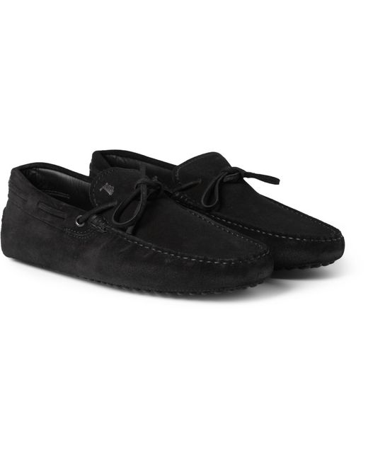 tod s gommino suede driving shoes in black for lyst