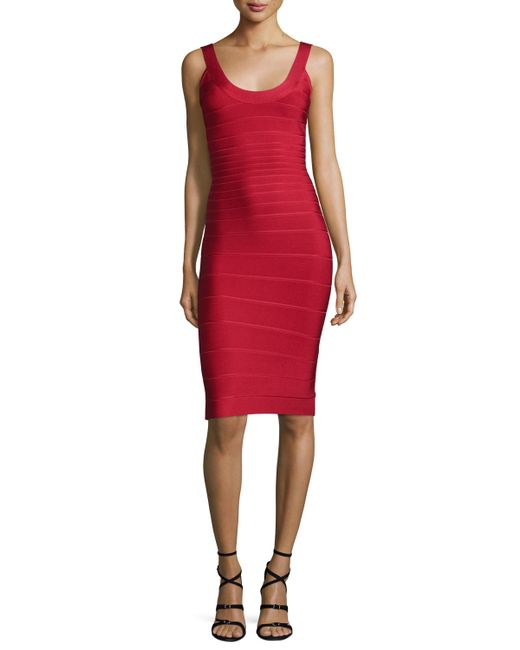 Hervé Léger | Red Scoop-neck Bandage Dress | Lyst