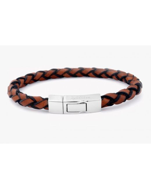 Tateossian | Brown Single Wrap Scoubidou Tan Leather Bracelet With Silver Clasp for Men | Lyst