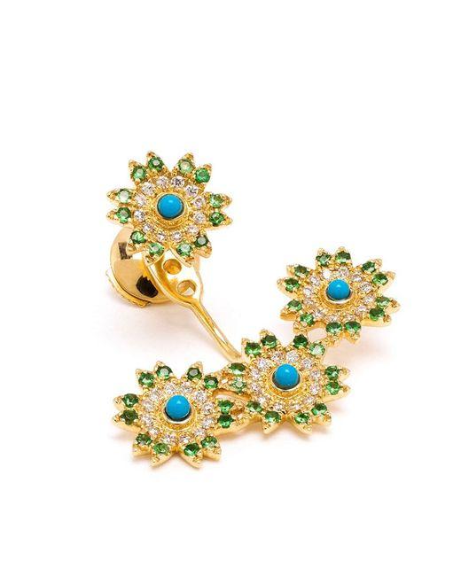 Yvonne Léon | Blue Yvonne Léon 18kt Gold Triple Flower Lobe Earring | Lyst