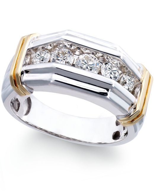Macy s Men s Diamond 1 Ct T w Ring In 10k White And Yellow Gold i