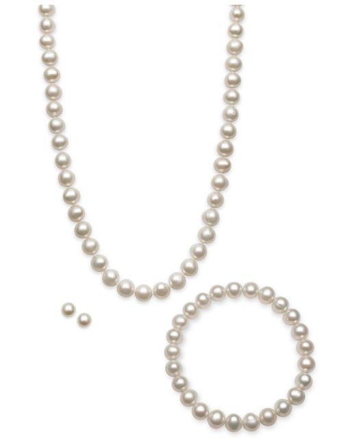 Macy's | Metallic Cultured Freshwater Pearl Jewelry Set (7-8mm) | Lyst