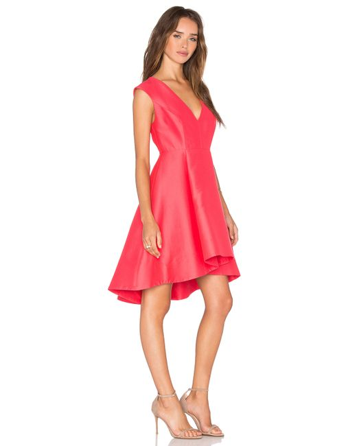 Halston heritage High Low Dress in Red