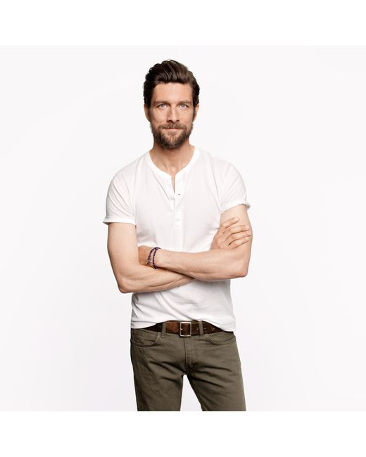 J.Crew | White Slim Broken-in Short-sleeve Henley for Men | Lyst