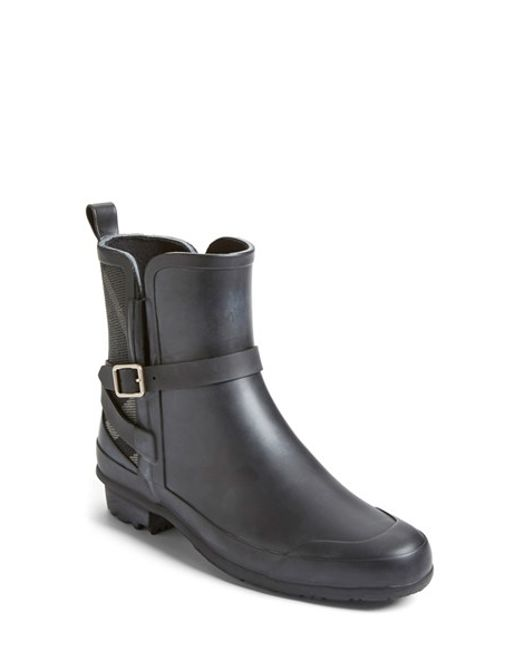 Burberry | Black Riddlestone Wrap Rain Booties | Lyst