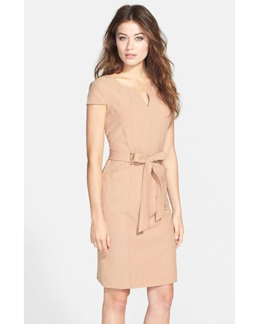 Ellen Tracy | Natural Belted Stretch Sheath Dress | Lyst