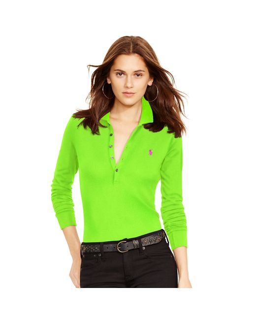 Polo Ralph Lauren | Green Long-sleeve Stretch Polo | Lyst