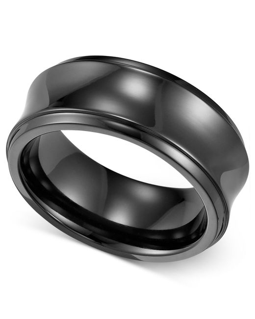 triton concave wedding band 8mm in black for lyst