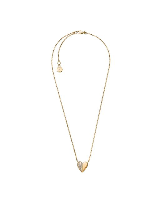 Michael Kors | Brown Pavé Gold-tone Pyramid Pendant Necklace | Lyst