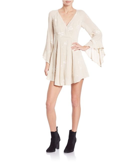 Free people jasmine embroidered dress in brown almond