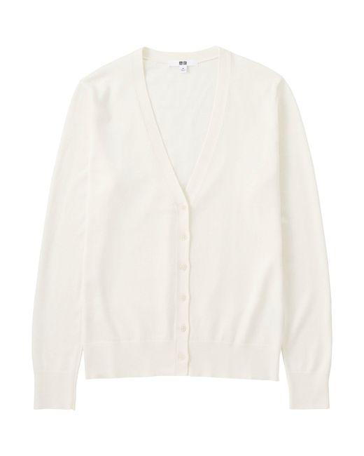 cf9a7fb0a2d Uniqlo Women Cotton Cashmere V-neck Cardigan in White (OFF .